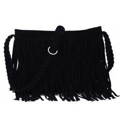 Fashion Fringe and Weaving Design Women's Crossbody Bag - BLACK