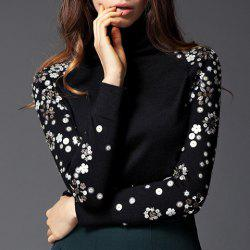 Vintage Turtleneck Sequin Floral Pattern Long Sleeves Women's Sweater -