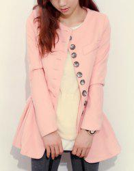 Vintage Round Collar Flouncing Solid Color Long Sleeves Worsted Women's Coat -