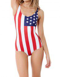 Stylish American Flag Print Color Matching One-Piece Swimsuit For Women -