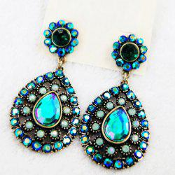 Pair of Rhinestone Water Drop Flower Earrings -