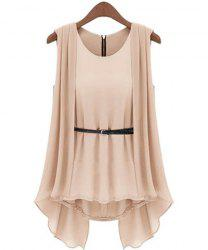 Stylish Scoop Collar Solid Color Belted Irregular Design Sleeveless Women's Chiffon Blouse -