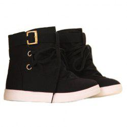 Buckle and Lace-Up Design Boots - BLACK