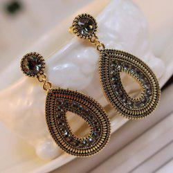 Pair of Ethnic Diamante Waterdrop Shape Drop Earrings - GOLD