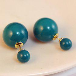 Pair of Cute Colored Round Bead Earrings For Women -