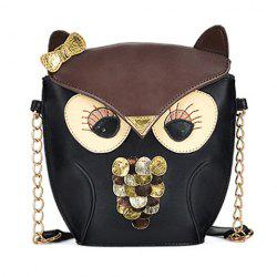 Women's Splicing Color Cross Body Bag Owl Pattern -