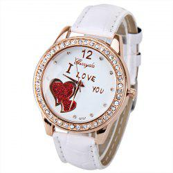 Quartz Watch with Small Diamond Dots Indicate Leather Watch Band Hearts Pattern Dial for Women