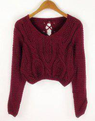 Long Sleeves V-Neck Cable Knit Openwork Dropped-Waist Sexy Women's Short Sweater -