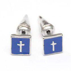 Pair of Trendy Cross Pattern Colored Glazed Square Earrings For Women