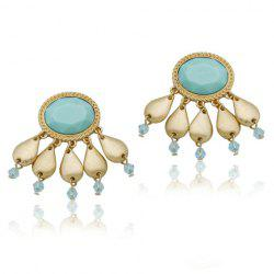 Pair of Chic Bohemian Colored Beaded Faux Gemstone Earrings For Women -
