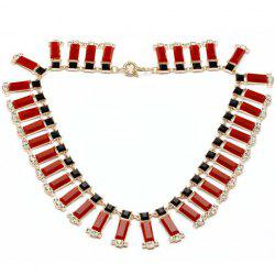 Exquisite Diamante Colored Faux Gemstone Flase Collar Necklace For Women -