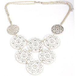 Fashion Diamante Hollow Round Pendant Alloy Necklace For Women -