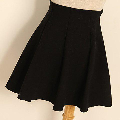 Online Pleated Solid Color Cotton Blend Casual Style Women's Skirt