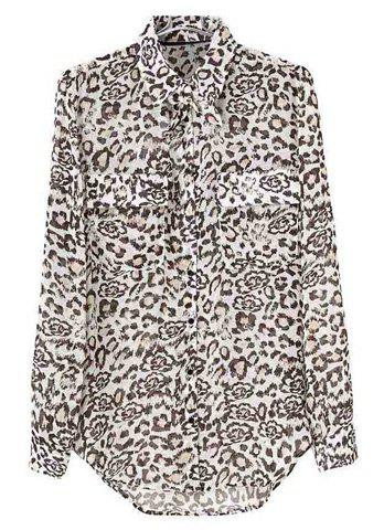 Trendy Stylish Turn-Down Collar Leopard Print Single-Breasted Long Sleeves Blended Women's Chiffon Blouse