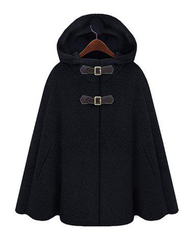 Outfits Fashion Hooded Solid Color Covered Button Embellished Cape-Style Women's Coat