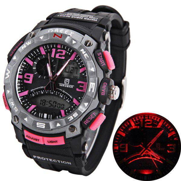 Buy Waterproof Rubber Band Double Movt Watches with Red Light Numbers and Trapezoids Hour Marks Round Shaped