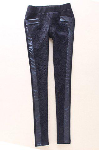 Outfits Vintage Hook Flower Hollow Out PU Leather Splicing Black Women's Pants