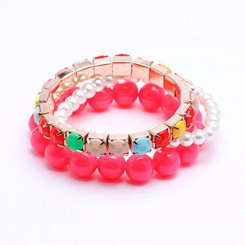 Buy 3PCS of Sweet Candy Color Beaded Strand Bracelets For Women