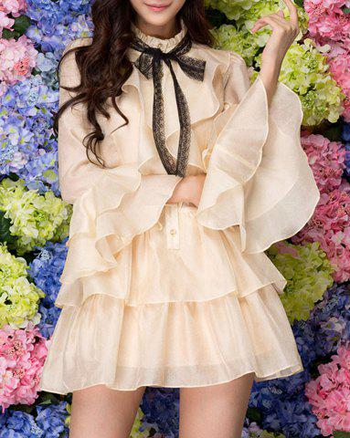 Shops Sweet Stand Collar Ruffles Single-Breasted Butterfly Sleeves Dress For Women