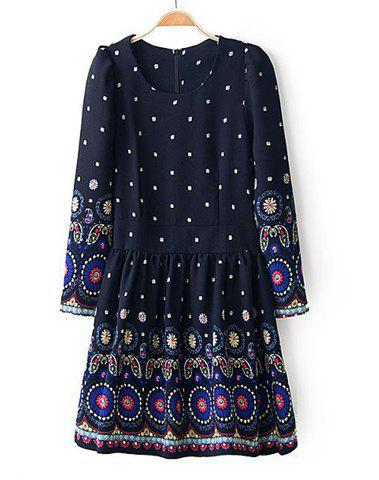 Best Ethnic Style Round Collar Floral Print Back Zipper Color Splicing Long Sleeves Dress For Women
