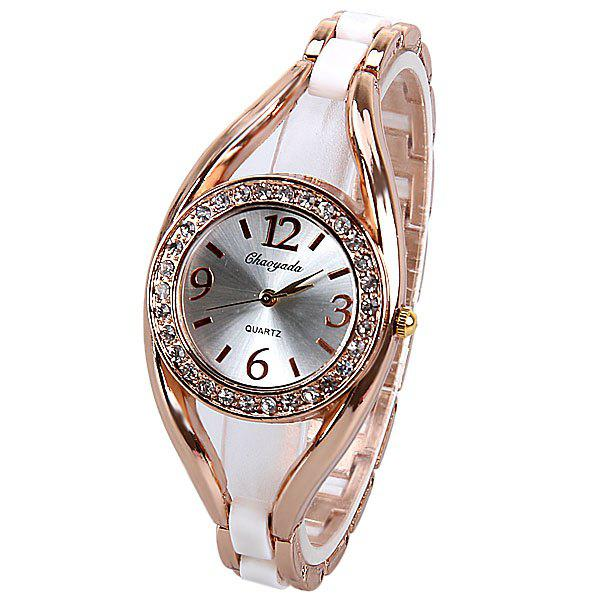 Best Quartz Watch Analog Indicate Diamonds Round Dial with Steel Watchband for Women