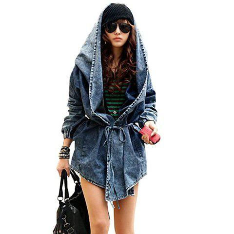 Outfit Women's Denim Trench Coat Hoodie Hooded Outerwear Jeans Jacket Coat