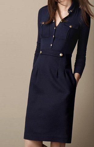 Trendy Stylish Solid Color Turn-Down Collar Single-Breasted Long Sleeves Slimming Women's Dress