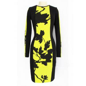 Celeb Style Floral Ladies Long Sleeve Slim Party Dress
