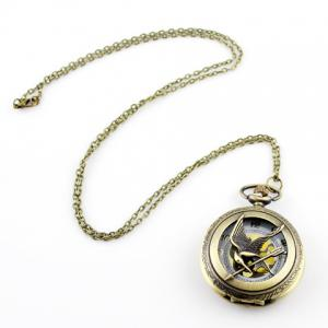 Bird and Pocket Watch Shape Pendant Sweater Chain - Light Gold