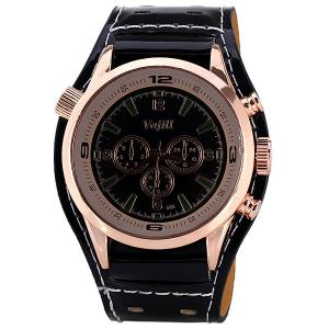 Men's Watch with Numbers and Trapezoids Hour Marks Round Dial and Leather Watchband -