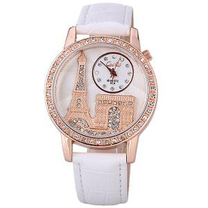 Quartz Watch with Diamonds Analog Indicate PU Leather Watch Band Tower Pattern for Women - WHITE