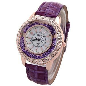 Diamonds Quartz Watch for Women with 12 Arabic Numbers Hour Marks and Snake Stripe Leather Watch Band - Purple