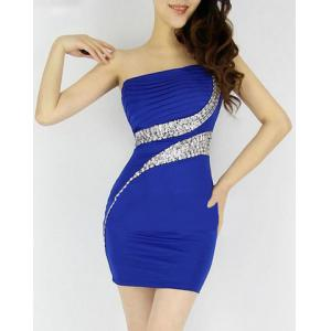 Diamonds One-Shouler Sexy Style Sleeveless Polyester Women's Dress