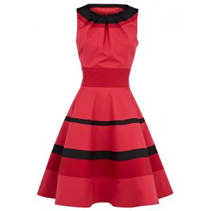 Vintage Round Collar Ruffled Stripe Flouncing Sleeveless Women's Dress