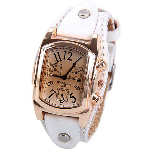 Outfits Quartz Watch with Analog Real Leather Watchband for Women