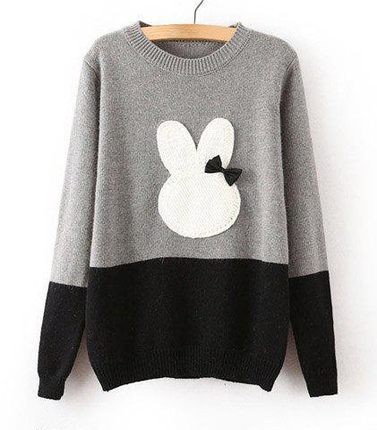 Sale Cute Round Collar Color Block Rabbit Pattern Bow Embellished Long Sleeves Sweater For Women