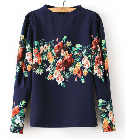 Shop Fashionable Round Collar Floral Print Back Zipper Puff Sleeves T-shirt For Women