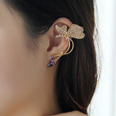 Fancy One Piece of Rhinestone Butterfly Shape Clip Earring