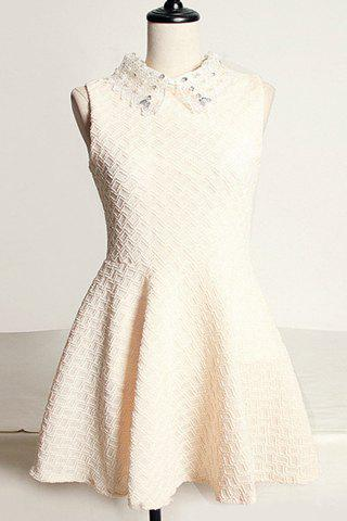 Cheap Vintage Flat Collar Lace and Rhinestone Embellished Sleeveless Dress For Women