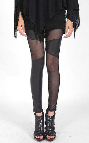 Hot Solid Color Fashionable Style Voile Splicing Slimming Women's PU Leather Leggings