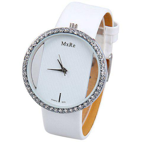 Best Diamonds Design Hollow Quartz Watch with Analog Indicate Leather Watchband for Women