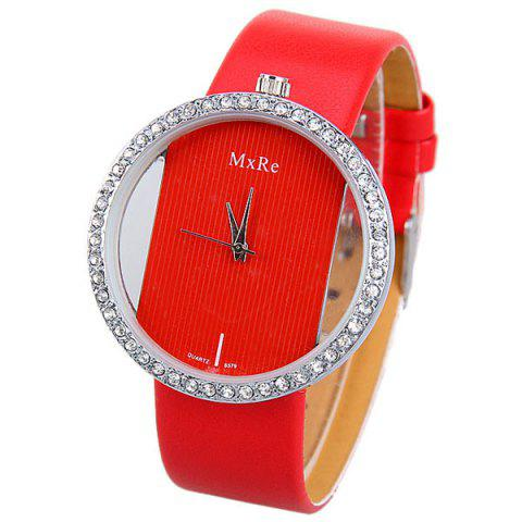 Sale Diamonds Design Hollow Quartz Watch with Analog Indicate Leather Watchband for Women