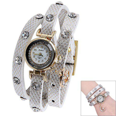 New Quartz Watch with Diamonds Moon and Star Design Round Dial and Leather Watch Band for Women