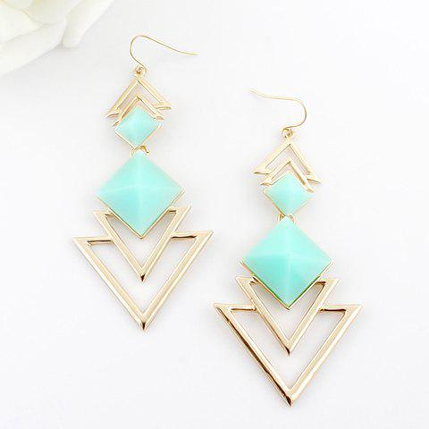New Pair of Chic Style Square Faux Gem Design Triangle Drop Earrings For Women BLUE