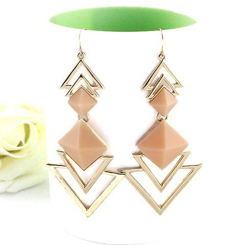 Affordable Pair of Chic Style Square Faux Gem Design Triangle Drop Earrings For Women