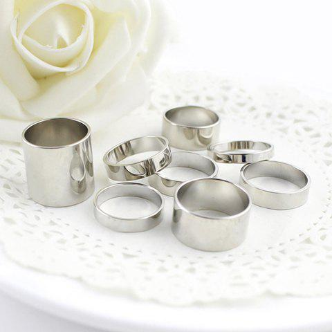 Shop 8PCS of Alloy Rings - ONE SIZE SILVER Mobile
