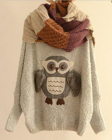 Fashionable Scoop Neck Night Owl Pattern Batwing Sleeve Sweater For Women
