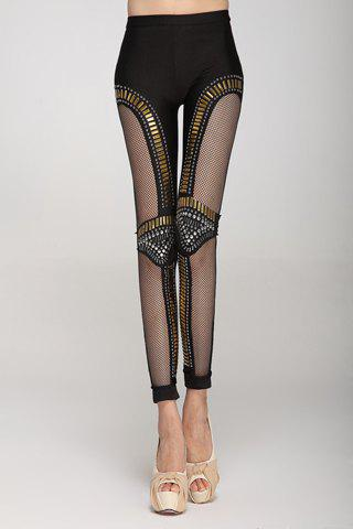 Affordable Punk Style Rhinestone Embellished Hollow Out Narrow Feet Skinny Leggings For Women