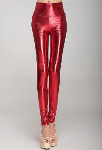 Trendy Fashionable High Waist Solid Color PU Leather Skinny Leggings For Women