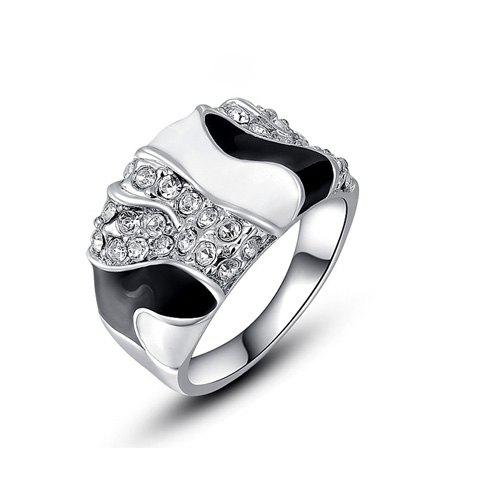 Buy Chic Diamante Color Patchwork Wide Alloy Ring For Women AS THE PICTURE ONE SIZE